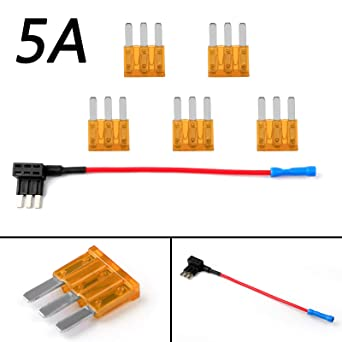 Micro 2 Fuse Tap Blade Fuses ATR APT Fuse Holder with 5A Fuse Additional Wiring Micro2 Add-a-Circuit Dual Circuit Adapter Truck Auto Car Terminal