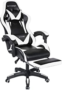 Gaming Chair BlitzWolf Office Chair Ergonomic Computer Chair PC Gaming Chair with Footrest 150°Reclining Detachable Pillows Armrest Home Office White