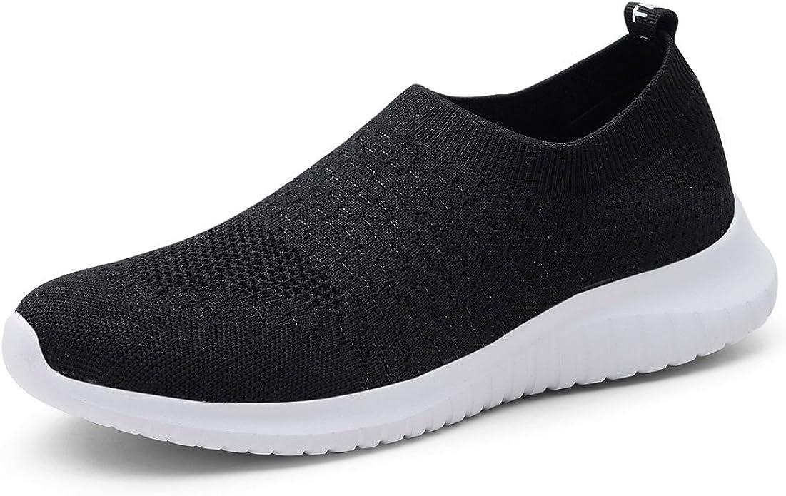 TIOSEBON Women's Walking Shoes Lightweight Breathable Yoga Travel Sneakers 7.5 US Black