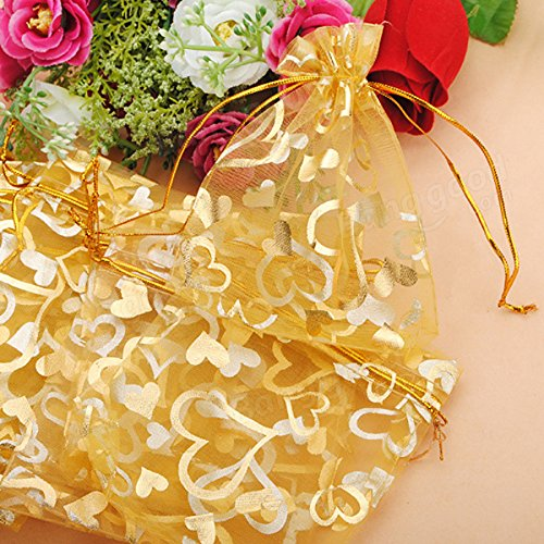 Festival Gifts & Party Supplies Gift Packaging Supplies - 100pcs Golden Luxury Heart Organza Jewelry Favor Gift Bag by Unknown (Image #3)