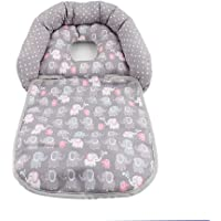 Baby Nest Head Support,Baby Stroller Headrest Shaped Pillow,Protect Baby's Back of Head (Grey)