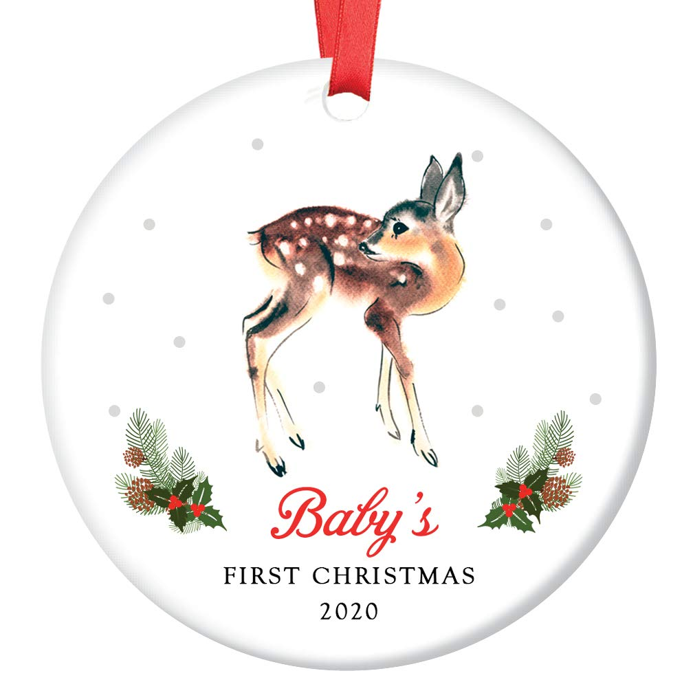 Amazon Com Baby S First Christmas Ornament 2020 Cute Boy Girl Little Deer Fawn Gender Neutral Newborn Child 1st Holiday Ceramic Family Keepsake Gift Idea 3 Flat Porcelain With Red Ribbon Free Gift
