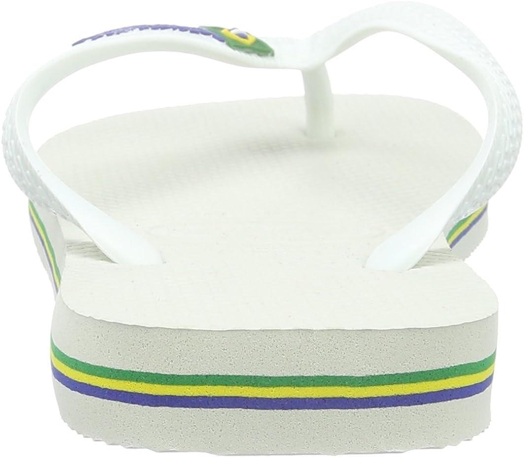 Havaianas Brasil Logo, Tongs Mixte Adulte Multicolore (pétrole),35/36 Blanc