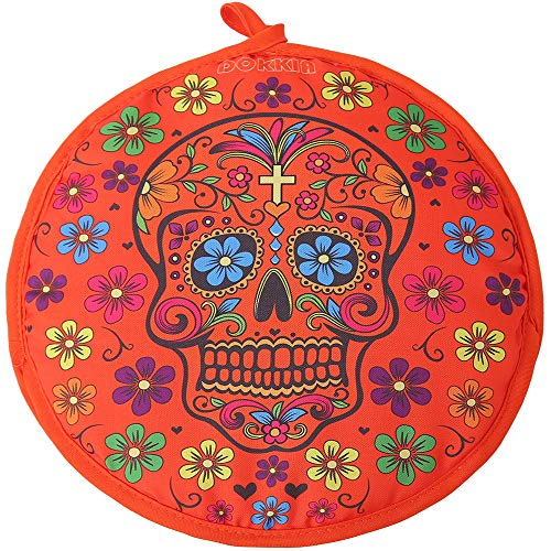 DOKKIA Tortilla Warmer 12 Inch Insulated Cloth Pouch - Microwavable Use Fabric Bag to Keep Food Warm for up to One Hour (12 Inch, Fiesta Sugar Skull Floral Day of The Dead)