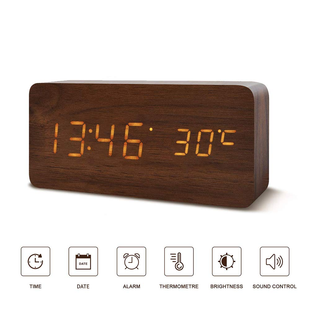 Digital Alarm Clock, LED Clocks with Display Temperature