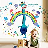 LiveGallery Removable Cartoon Colorful Rainbow Rain Giraffe Wall Decals Huge Size Picture Photo Frame Wall Stickers Decor for Kids rooms Baby Bedroom Living room Nursery Classroom