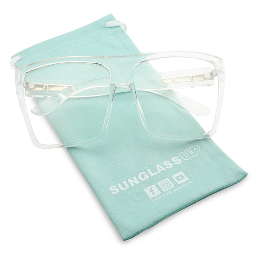 Super Extra Oversized Square Trapezoid Transparent Clear Lens Flat Top Aviator Glasses (Transparent, Clear) by SunglassUP