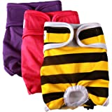 vecomfy Washable Dog Diapers Female for Small Dogs(3 Pack),Premium Reusable Leakproof Puppy Nappies