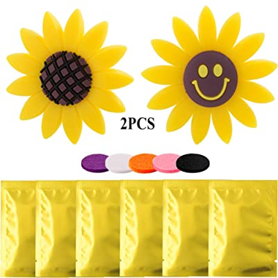 2 PCS Sunflower Car Accessories Air Vent Clips with 6 Pack Refill Felt Pads, Yellow Sunflower and Cute Smile Face Car Air Freshener Holder & Container Decorations Perfume Gift for Car Office Home: Automotive