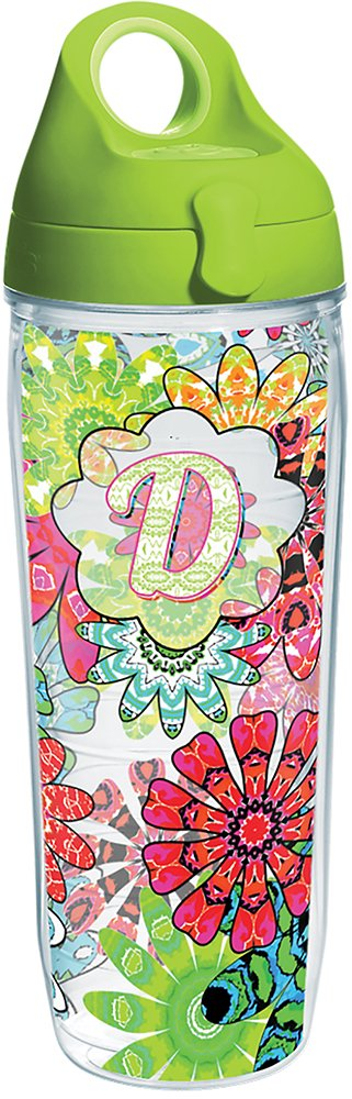 Tervis 1270664 INITIAL-D Flower Burst Tumbler with Wrap and Lime Green Lid 24oz Water Bottle Clear