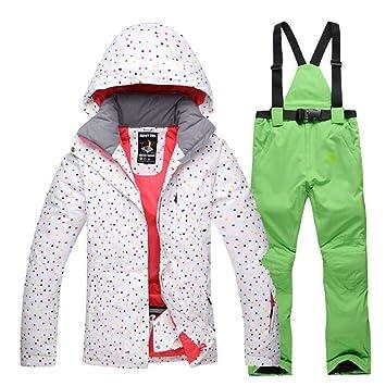 Zjsjacket Traje de Esqui White Dot Snow Suit Chaquetas Mujer ...
