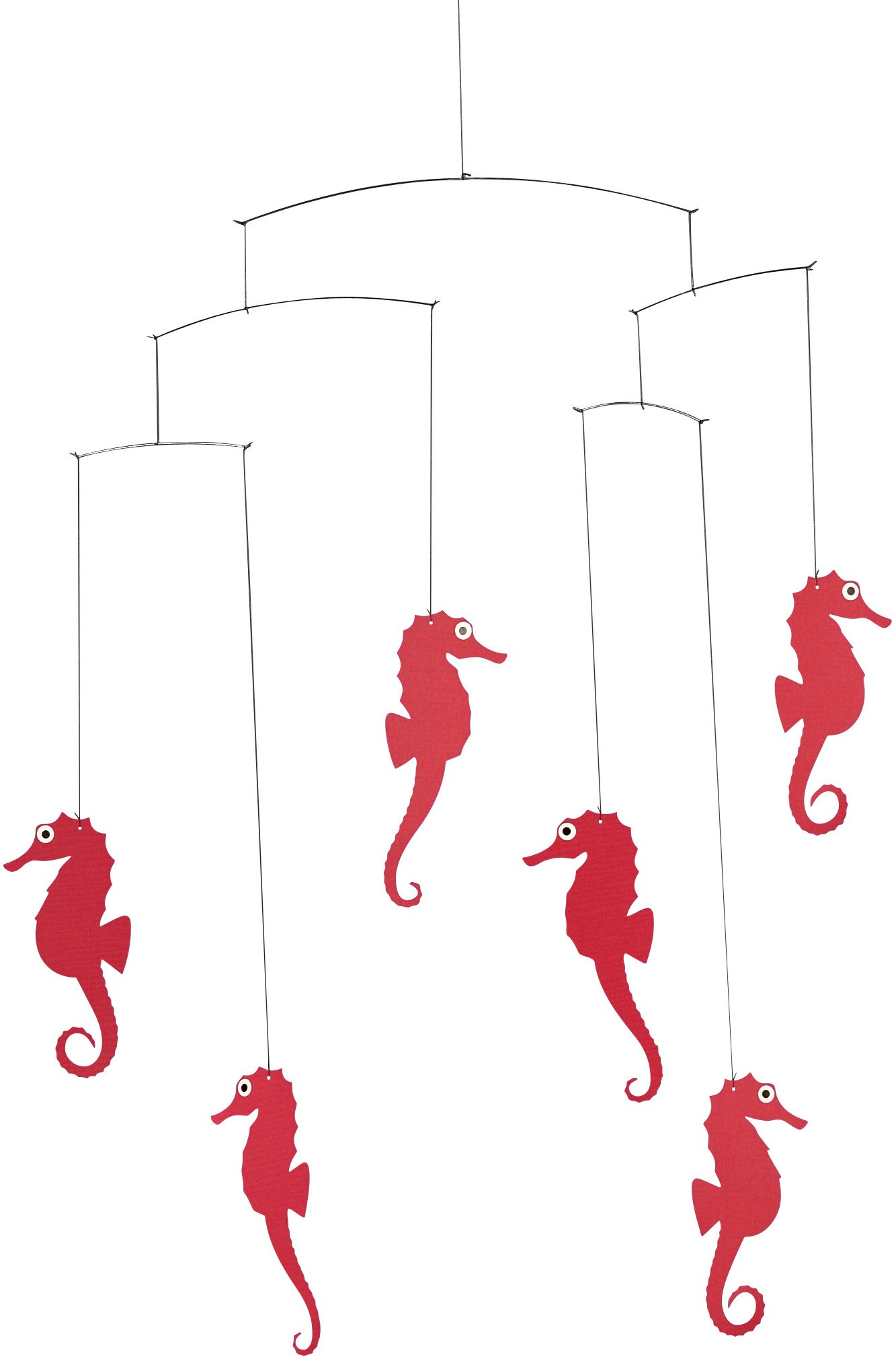 Flensted Mobiles Sea Horse Red Hanging Mobile - 22 Inches Cardboard
