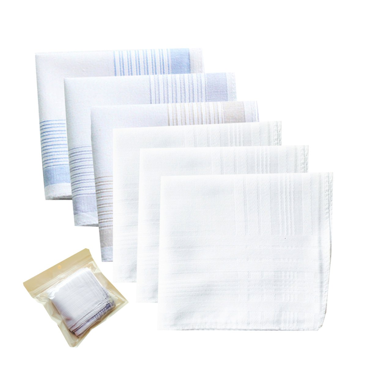 Gift Set of 6 Mens Fashion 100% Cotton Hankerchiefs-Square 43cm