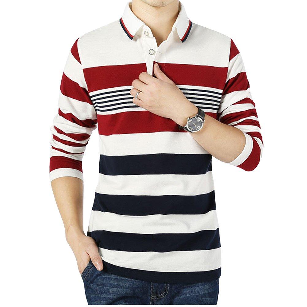 Wishere Mens Fashion T Shirt Cotton Striped Long Sleeved Polo Shirt