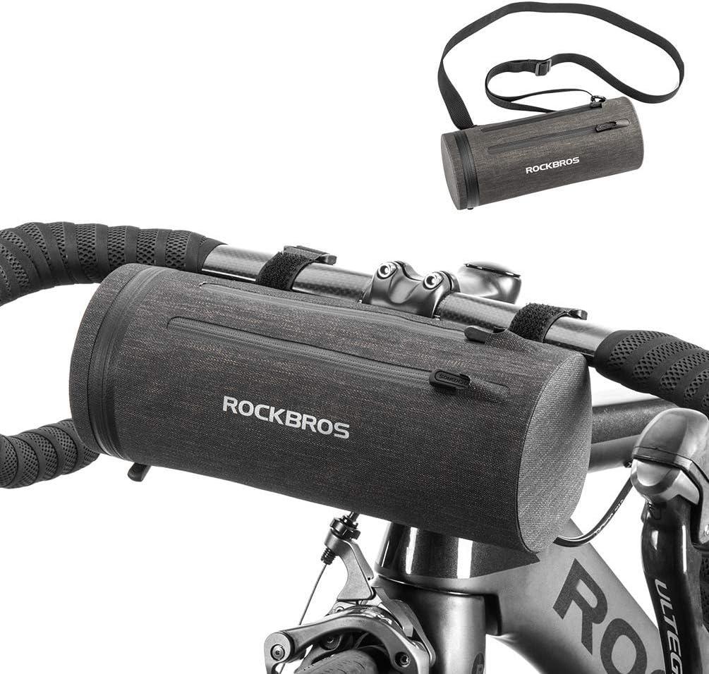 ROCKBROS Bolsa de Manillar Cuadro Cesta Impermeable Ciclismo Bolsa de Hombro Portátil para Bicicletas MTB Bici de Carretera Bici Plegable Bici Urbana Negro Dorado