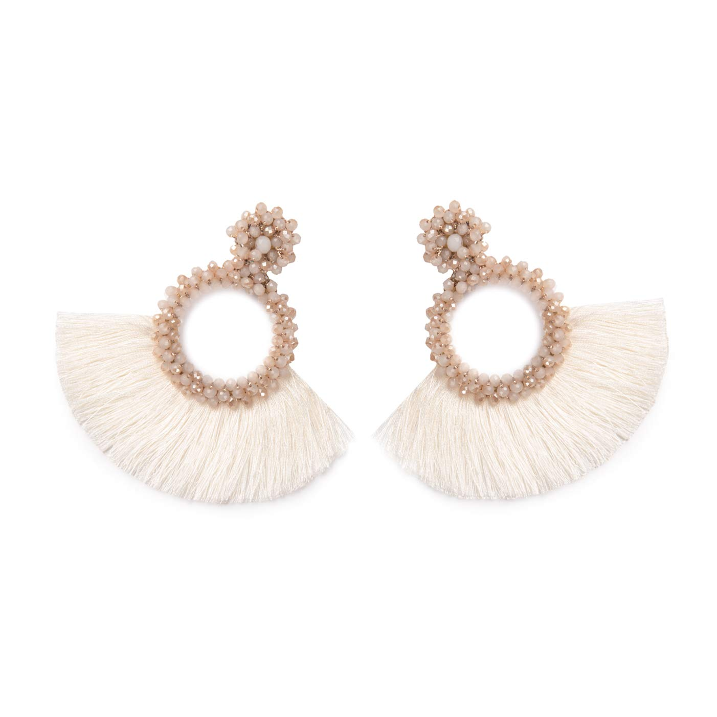 EiYYA Red Hoop Tassel Dangle Earrings for Women Girls Mom/Handmaded Beaded Fashion Fan Shape Drop/