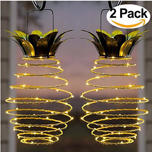 Garden Solar Lights, Outdoor Decor Pineapple Solar Path Lights Hanging Fairy Lights, 2-Pack Waterproof 25 Solar Led Warm Fairy String for Patio Path Home Décor Lighting (Decor Ideas Outdoor Patio Wall)