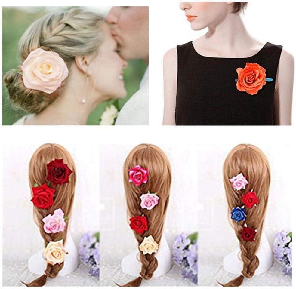 Rose fleur en /épingle /à cheveux Floral pince /à cheveux fleur broche multicolore pince /à cheveux accessoires pour cheveux pour femmes filles mari/ée f/ête plage mariage