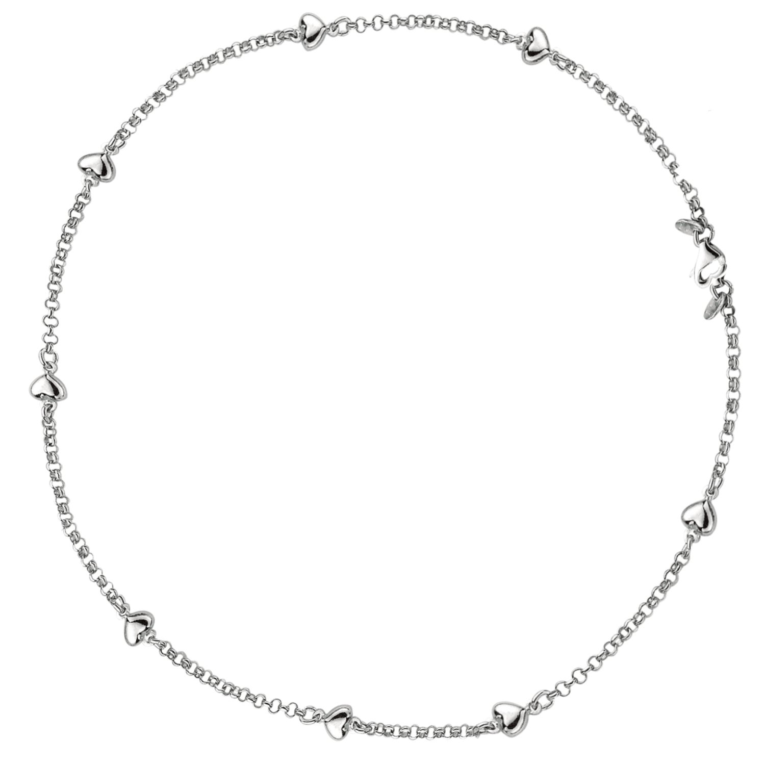 Sterling Silver Puffed Heart Station Rolo Link Chain Anklet 10 Inches by Ritastephens