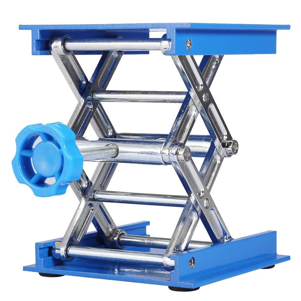 Leyeet Lab Lifting Platform,100 x 100mm Portable Aluminium Oxide Lab Lifting Platform Stand Rack Scissor Jack Lifter