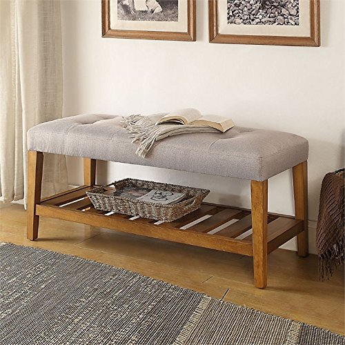 ACME Furniture Acme 96680 Charla Bench, Light Gray & Oak, On