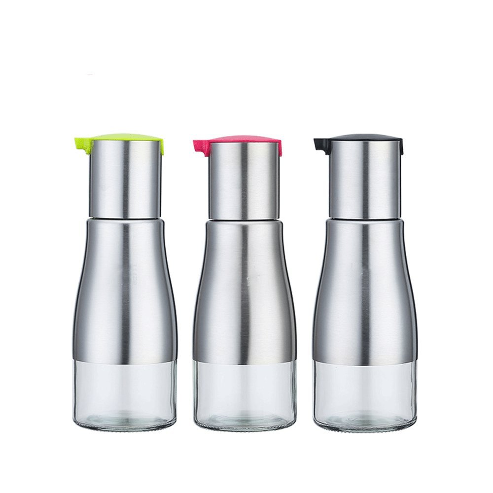 Olive Oil Dispenser BEBEGO Olive Oil and Vinegar Cruet Dispenser- Made of Lead-FreeGlass and Stainless Steel Food Raw Materials Safety and Health and Drip Free Design(3pcs) by BEBEGO