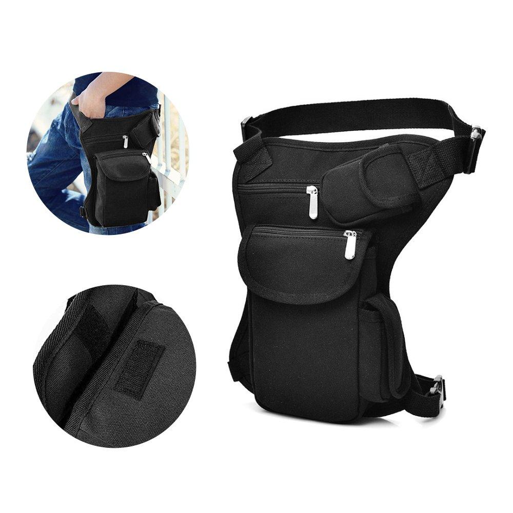 Canvas Drop Leg Bag Sports Racing Waist Bag Pack for Hiking Cycling Vacation Black