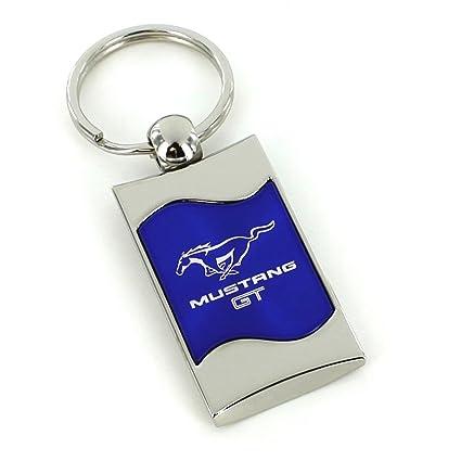 Ford Mustang Gt Blue Spun Brushed Metal Key Ring