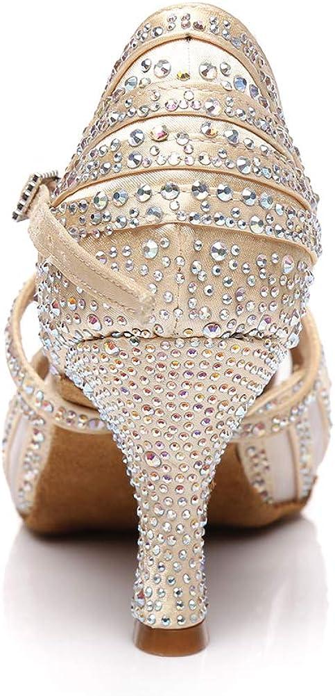 AOQUNFS Femme//Fille Chaussures de Danse de Salon a Strass Chaussures Latines Salsa Danse Femme,YCL403