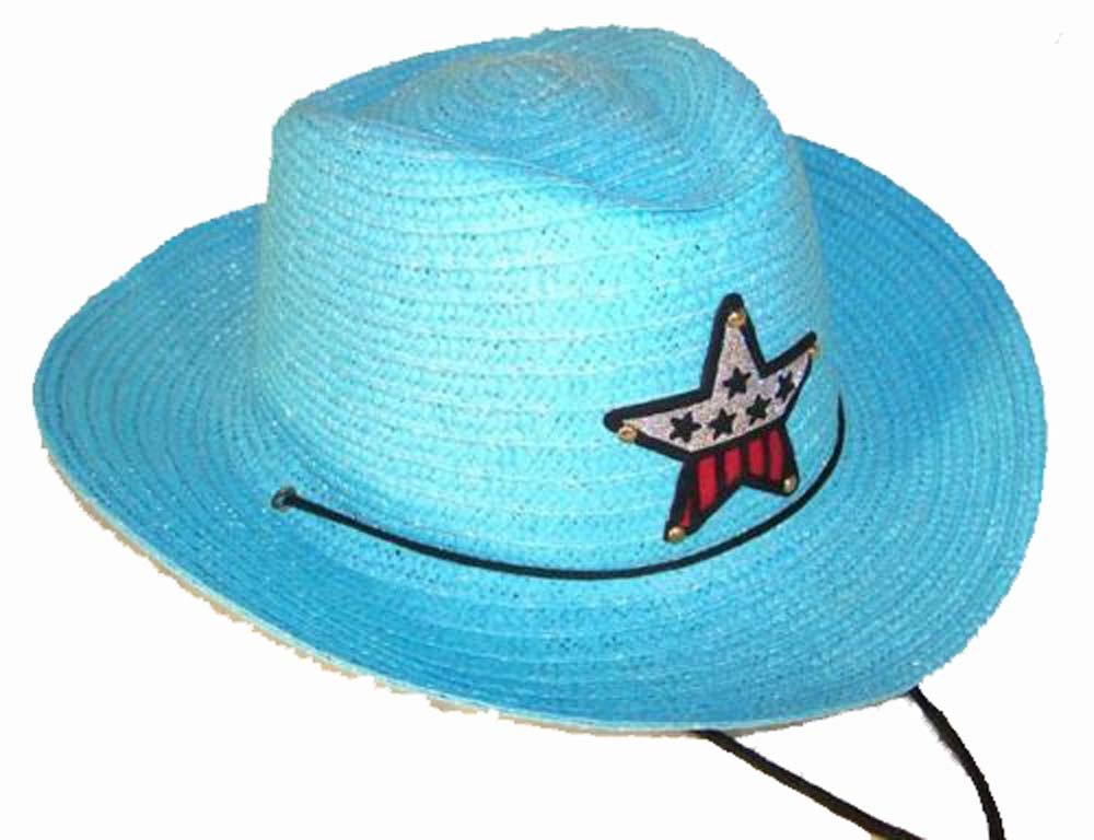 12 Bulk Lot Assorted Colors Kids Straw Western Cowboy / Cowgirl Hat with Americian Flag Star Emblem Patch -Childrens Size by Novelties company (Image #2)