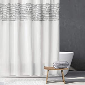 "mDesign Embroidered 100% Cotton Shower Curtain, Decorative Soft Fabric, for Bathroom Showers and Bathtubs, Super Soft, Easy Care, Modern Geometric Print - 72"" x 72"" - White/Black"