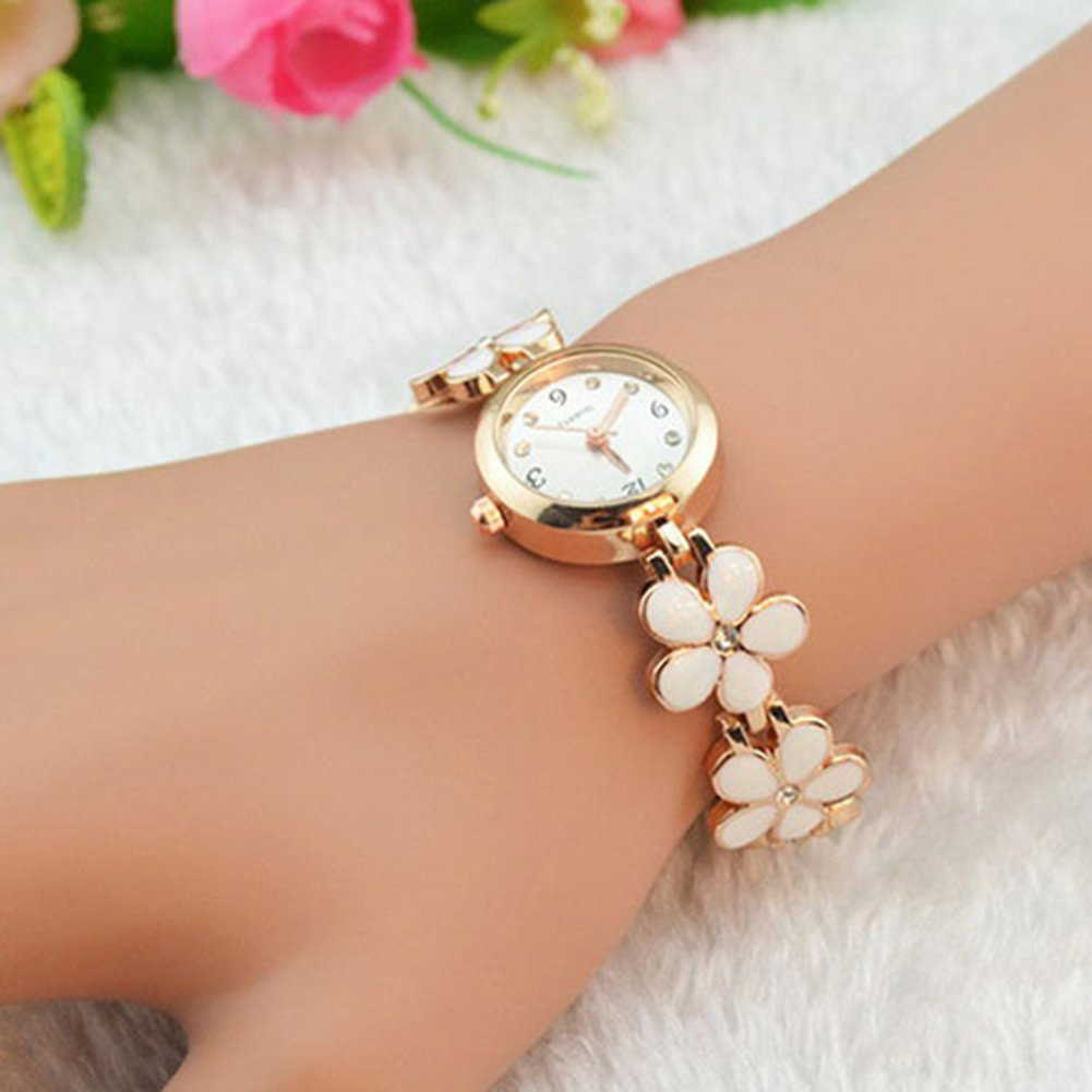 Amazon.com: Women Girl Chic Fashion Daisies Flower Rose Golden ...