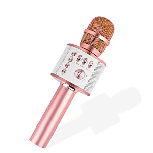 Ankuka Bluetooth Karaoke Microphone, 3 in 1 Multi-Function Handheld Wireless Karaoke Machine for Kids, Portable Mic Speaker Home, Party Singing Compatible with iPhone/Android/PC (Rose Gold)