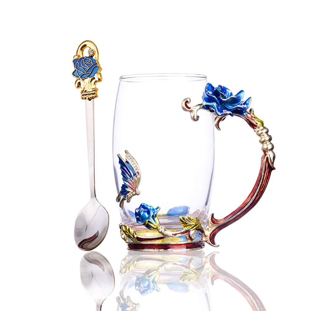 Tea Cup Glass Coffee Mug Handmade Enamel Rose Flower Tea Mug for Birthday Wedding Friend Party Gifts with Stainless Steel Spoon Set Blue