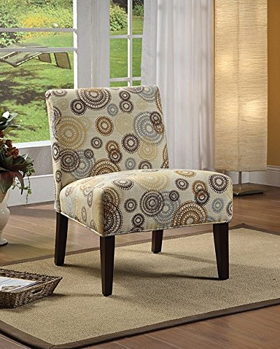 Aberly Decorative Modern Printed Fabric Comfortable Armless Slipper Accent Living  Room Chair   Beige Blue Brown