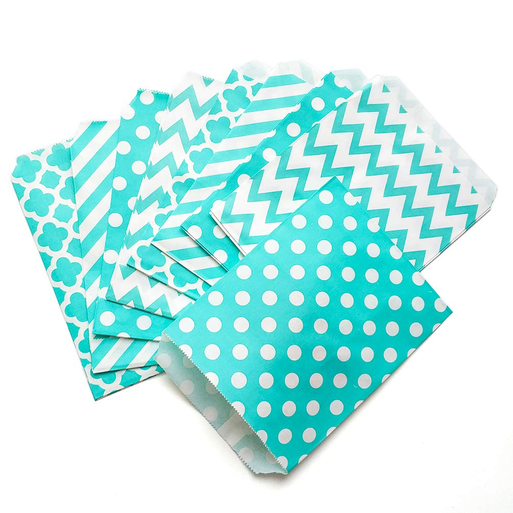 KIYOOMY 100 Pcs Candy Buffet Bags Small Paper Treat Bags (Teal Blue, 5 inch X 7 inch)