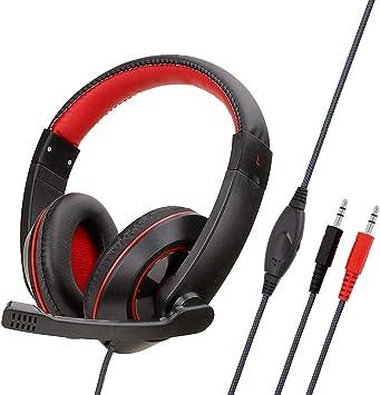 Auriculares Juegos Ps4, con Microfono Diadema Ajustable, Bass 3,5Mm Jack, Luz Led, Control De Volumen, Bajo Ruido para Ps4/Xbox One/Nintendo Switch/Pc/MóVil: Amazon.es: Electrónica