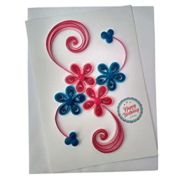 Varsha creations handmade quilled happy birthday greeting card varsha creations handmade quilled happy birthday greeting card colourful flowers best gift for friends m4hsunfo