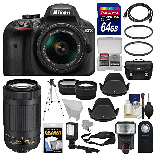 Nikon D3400 Digital SLR Camera & 18-55mm VR & 70-300mm DX AF-P Lenses with 64GB Card + Case + Flash + LED Video Light + Tripod + Tele/Wide Lens Kit