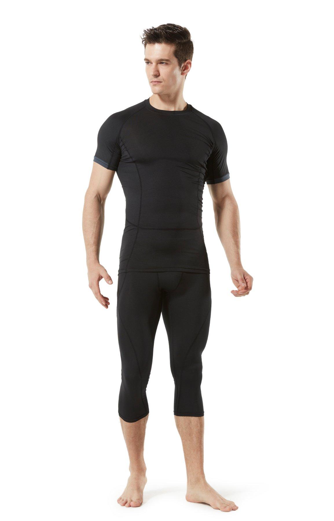 TM-MUC18-KLB_X-Small Tesla Men's Compression Capri Shorts Baselayer Cool Dry Sports Tights MUC18 by TSLA (Image #8)