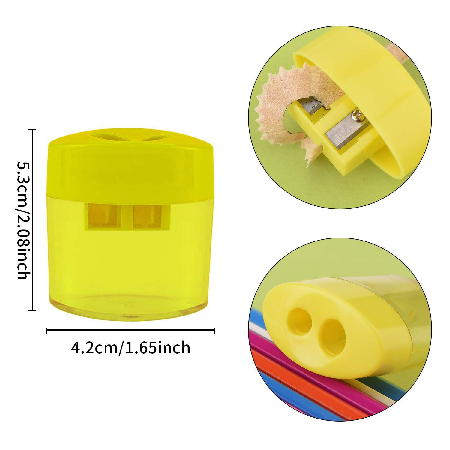 Manual Pencil Sharpener Hand Pencil Sharpener with Cover and Receptacle for School Home and Office Supply 16 Pcs Double Hole Oval Shaped Pencil Sharpener