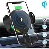 SHSTFD Wireless Car Charger Mount, 10W/7.5W/5W Qi Auto Clamping Fast Car Charger Holder, Air Vent Phone Holder…