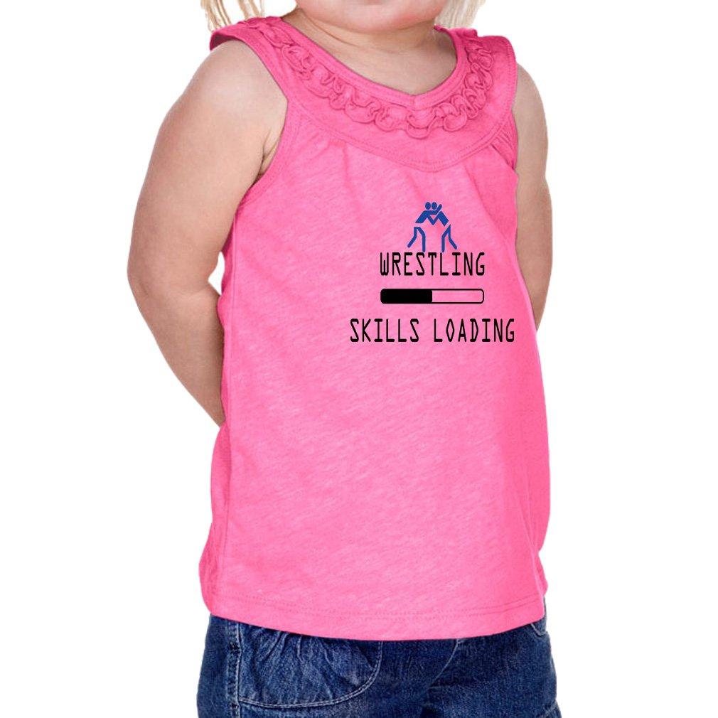 Wrestling Skills Loading Sport #2 60/40 Cotton/Polyester Tank Ruffle Neck Girl Infant Jersey Tee Yoke - Hot Pink, 6 Months