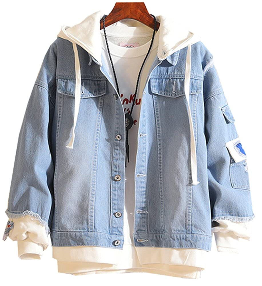 LifeHe Men Denim Jacket with Hoodie with Patches Oversized
