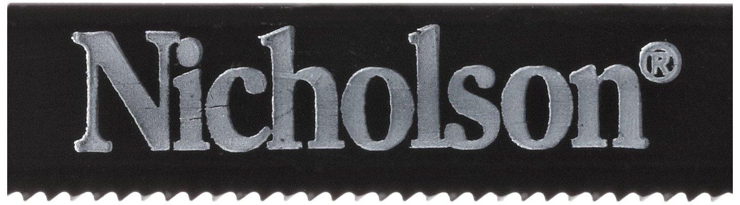 Nicholson Solid Flexible Carbon Steel Hacksaw Blade, Wavy, 12'' Length, 1/2'' Width, 0.025'' Gauge, 18 Gauge, 18 Teeth Per Inch (Pack of 100)