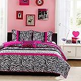 Kaputar Modern Chic Girl HOT Pink Black Zebra Stripe Polka DOTS Quilt Set Pillow   Model CMFRTRSTS - 2836   Twin