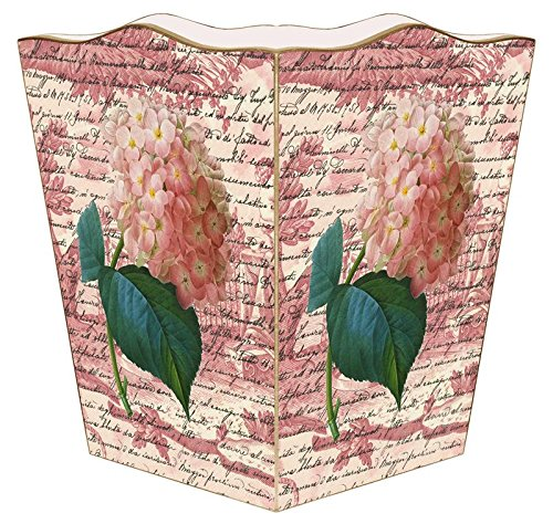 WB295-Pink Hydrangea on Rose Toile Wastepaper Basket