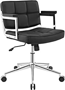 Modway Portray Mid Back Faux Leather Modern Office Chair In Black