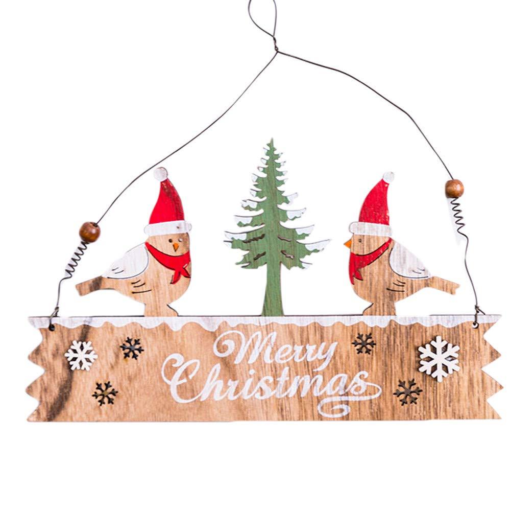 Lovewe Christmas Elk Wood Plate,Hollow Door Hanging,Wooden Pendant,Xmas Ornaments Decor (C)