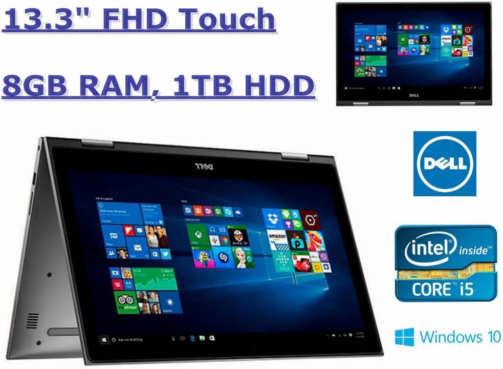 """Dell Inspiron 13.3"""" FHD 2-in 1 Laptop:Intel i5-7200U Dual Core Processor up to 3.1GHz, 8GB RAM, 1TB HDD, Webcam, Bluetooth, Windows 10-Grey"""